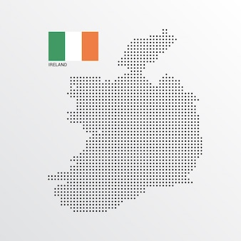Conception de carte d'irlande avec drapeau et vecteur de fond clair