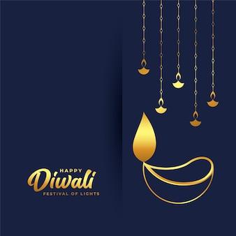 Conception de carte joyeux diwali avec diya doré dessiné à la main