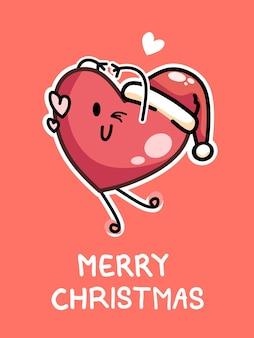 Conception de carte de joyeux noël avec un coeur rouge heureux portant un bonnet de noel