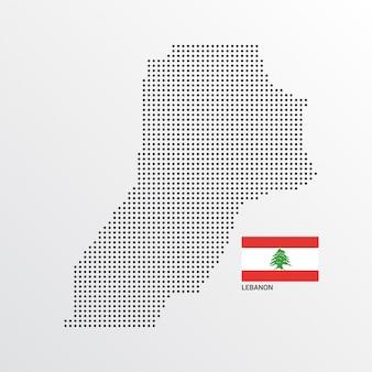 Conception de carte liban avec drapeau et vecteur de fond clair