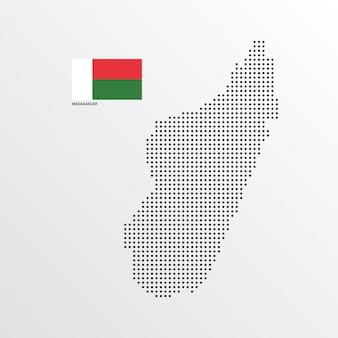 Conception de carte de madagascar avec drapeau et vecteur de fond clair