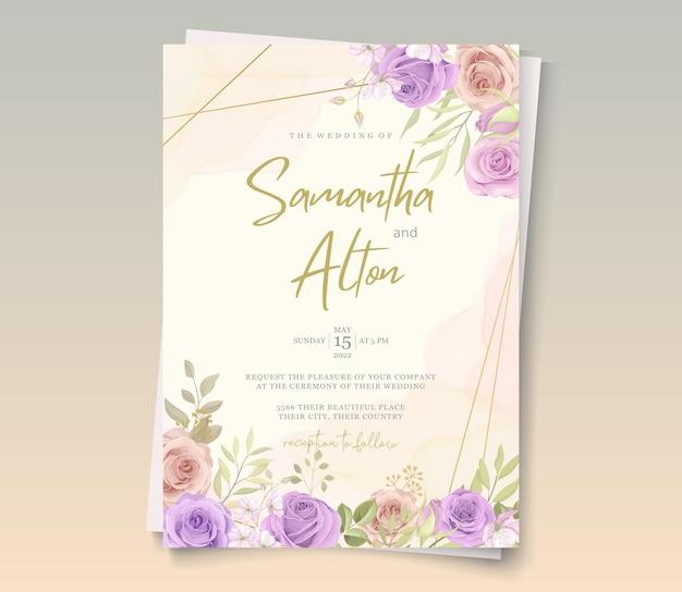 Conception de carte de mariage élégante avec des ornements de roses roses et violets