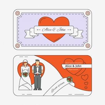 Conception de carte de mariage plat