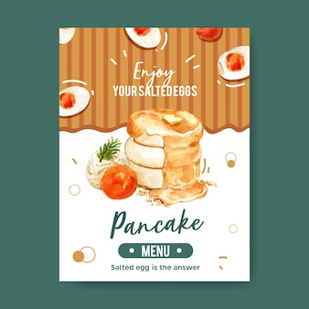 Conception de carte de menu d'oeufs salés avec feuille, crêpe, illustration aquarelle crème.