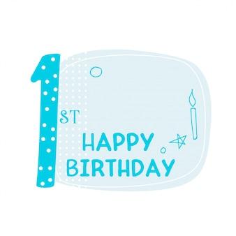 Conception de carte mignon premier joyeux anniversaire