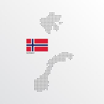 Conception de carte de norvège avec le drapeau et le vecteur de fond clair