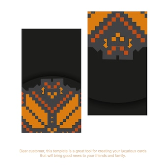 Conception de carte postale de couleur noire prête à l'impression de vecteur luxueux avec des motifs slaves. modèle de carte d'invitation avec place pour votre texte et ornements vintage.