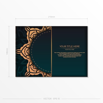 Conception de carte postale de couleur vert foncé prête à imprimer avec des motifs arabes. modèle de carte d'invitation avec ornement vintage.