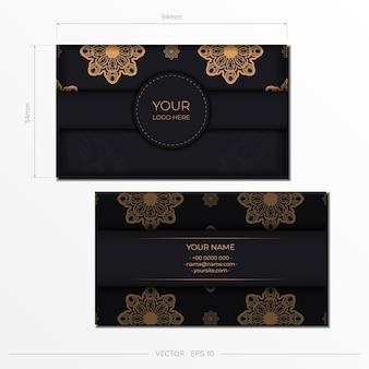 Conception de carte postale élégante de couleur noire avec des motifs vintage. invitation élégante avec ornement grec.