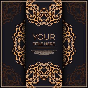 Conception de carte postale de luxe noir avec ornement vintage en or.