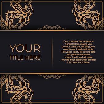Conception de carte postale de luxe noire avec ornement indien vintage.