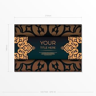 Conception de carte postale présentable de couleur vert foncé avec des motifs arabes. carte d'invitation de vecteur avec ornement vintage.