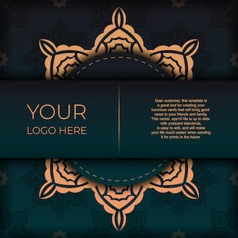 Conception de carte postale présentable de couleur vert foncé avec ornement arabe. carte d'invitation de vecteur avec des motifs vintage.