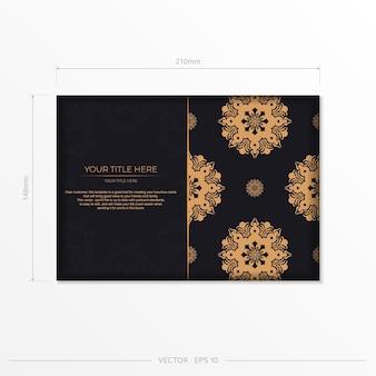 Conception de carte postale prête à l'emploi avec ornement de mandala vintage abstrait.