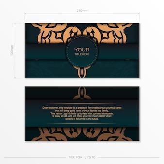 Conception de carte postale prête à imprimer de couleur vert foncé avec des motifs arabes. modèle de carte d'invitation de vecteur avec ornement vintage.