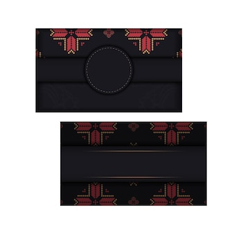 Conception de carte postale prête à imprimer en noir avec ornement slave. modèle d'invitation avec espace pour votre texte et motifs vintage.