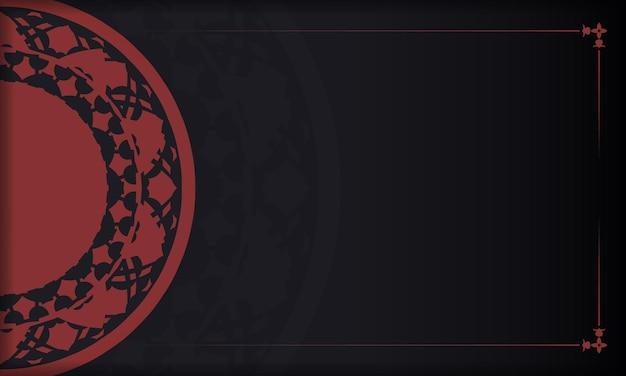 Conception de carte postale prête à imprimer avec des ornements grecs. modèle de bannière noir-rouge avec ornements de luxe et place pour votre texte.