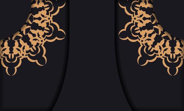Conception de carte postale prête à imprimer avec des ornements vintage. modèle de bannière noire avec ornements de luxe et place pour votre texte.