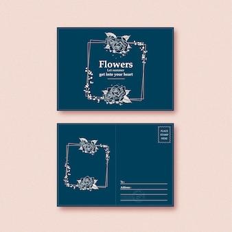 Conception de carte postale tropicale d'art en ligne avec des fleurs et des feuilles illustration dessinée à la main.