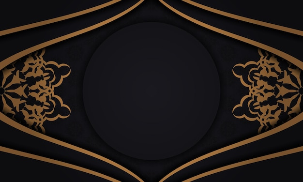 Conception de carte postale vectorielle avec des motifs vintage. bannière noire avec des ornements luxueux pour votre logo.