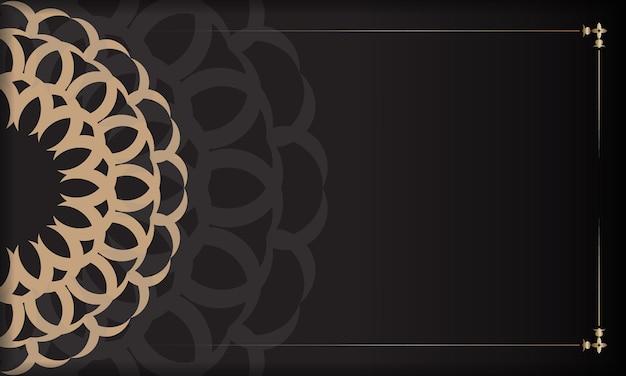 Conception de carte postale vectorielle avec ornement vintage. bannière noire avec des ornements luxueux pour votre logo.