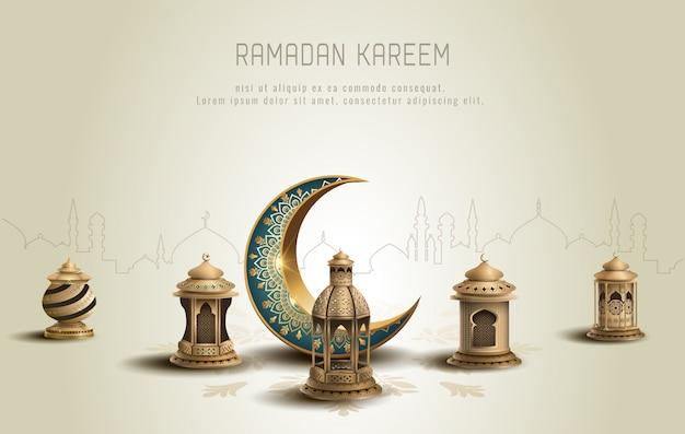 Conception de carte de ramadan kareem de voeux islamique avec croissant et lanternes
