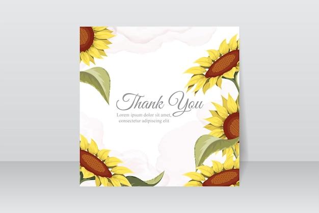Conception de carte de remerciement avec de beaux tournesols