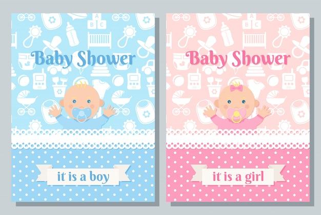 Conception de carte de répétition de douche de bébé ensemble