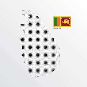 Conception de carte de sri lanka avec drapeau et vecteur de fond clair