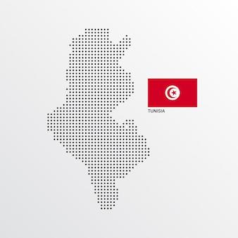Conception de carte de tunisie avec drapeau et vecteur de fond clair