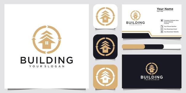 Conception de carte de visite d'annonce d'illustration de logo de bâtiment