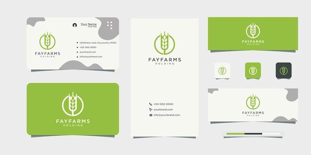 Conception de carte de visite de conception de logo de blé de ferme