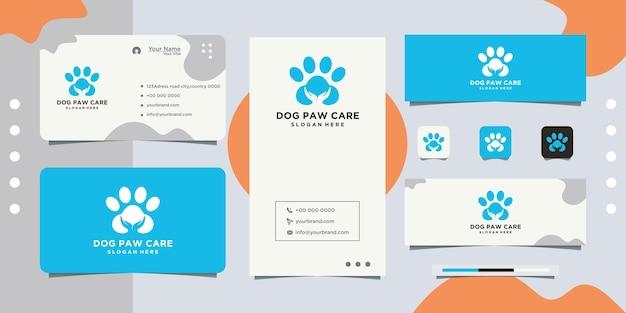 Conception de carte de visite de conception de logo de soins pour animaux de compagnie