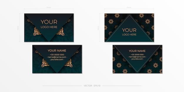Conception de carte de visite de couleur vert foncé avec des motifs luxueux. cartes de visite présentables élégantes avec ornement vintage.