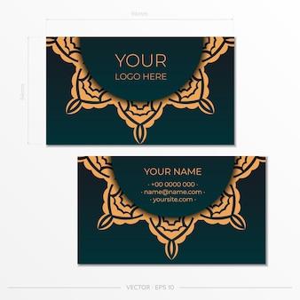 Conception de carte de visite de couleur vert foncé avec des ornements luxueux. cartes de visite élégantes et présentables avec des motifs vintage.