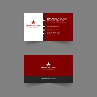 Conception de carte de visite avec des couleurs rouges