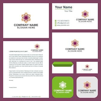 Conception et carte de visite de fleurs de mandala mahdi vecteur premium