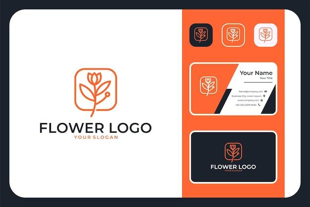 Conception et carte de visite de logo de beauté d'art de ligne de fleur