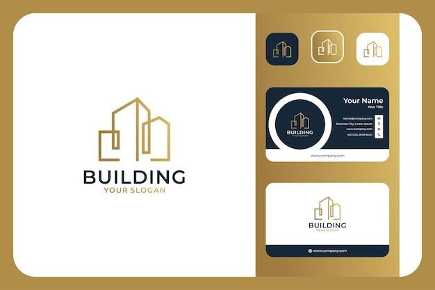 Conception et carte de visite de logo de luxe d'art de ligne de bâtiment