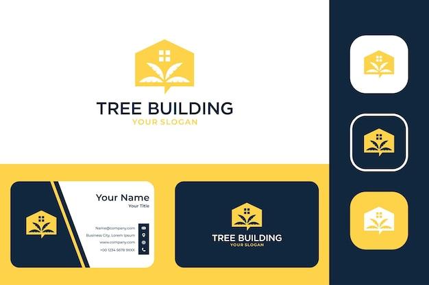 Conception et carte de visite de logo de maison de construction d'arbre