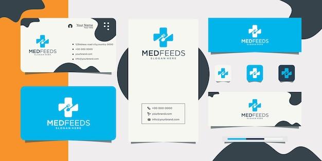 Conception et carte de visite de logo de santé de pharmacie de santé