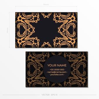 Conception de carte de visite luxueuse avec ornement indien vintage. peut comme arrière-plan romain et papier peint. éléments élégants et classiques prêts pour l'impression et la typographie.