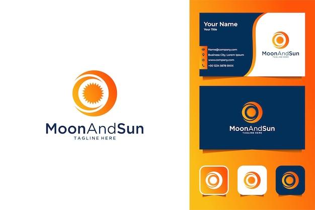 Conception et carte de visite modernes de logo de lune et de soleil