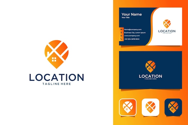 Conception et carte de visite modernes de logo de maison d'emplacement