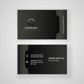 Conception de carte de visite noire avec les détails de l'entreprise en vue avant et arrière.
