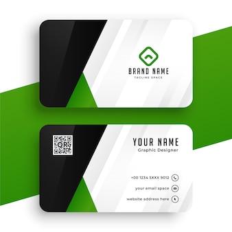 Conception de carte de visite propre en couleur verte
