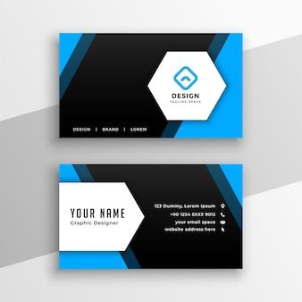Conception de carte de visite de style hexagonal bleu