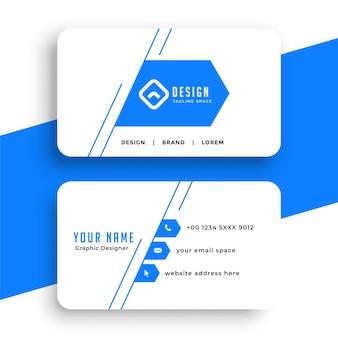 Conception de carte de visite de style ligne bleue simple