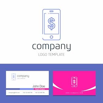 Conception de carte de visite avec vecteur de logo entreprise téléphone intelligent