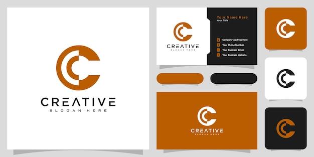 Conception et carte de visite de vecteur de style de ligne de logo de lettre initiale c
